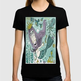 Quirky Mermaid with Sea Friends T-shirt
