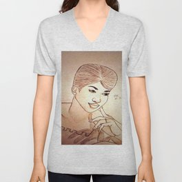 Aretha Franklin by Double R Unisex V-Neck