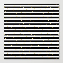 Modern black white gold polka dots striped pattern Canvas Print