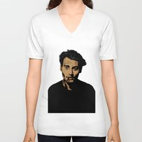 johnny depp V-neck T-shirts featuring johnny depp by pexkung