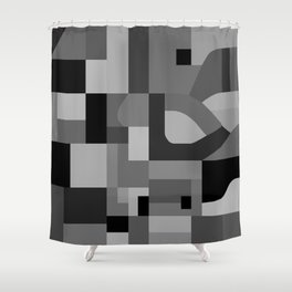 Langley Tex Black and White Shower Curtain