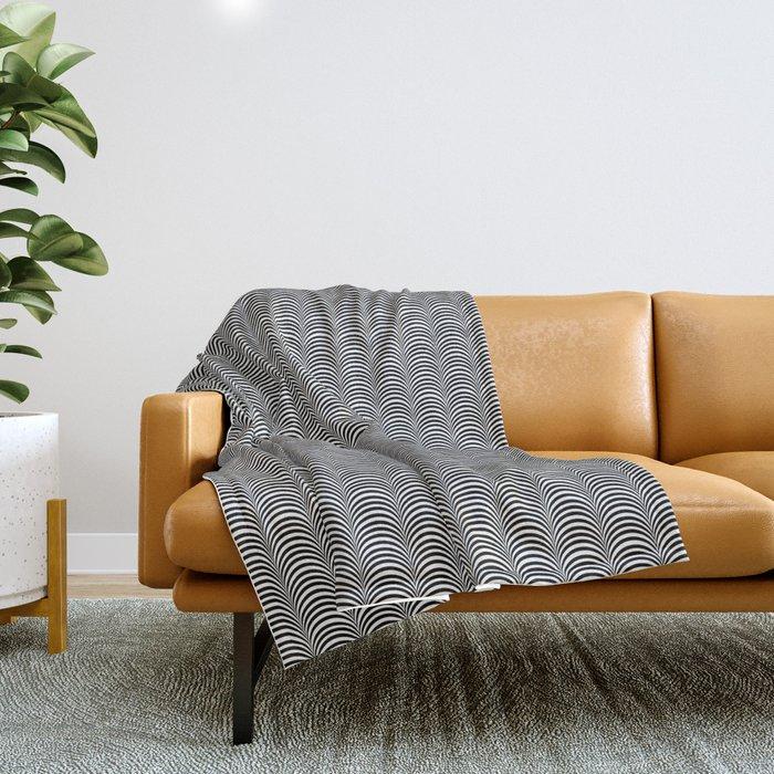 Black and White Scallop Line Pattern Digital Graphic Design Throw Blanket