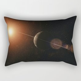 Large gas planet with ring system of ice particles orbiting red giant. Outer Space, Cosmic Art and S Rectangular Pillow