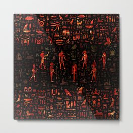 Ancient Egyptian Gods and hieroglyphs - Red Marble Metal Print