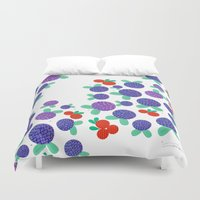 finland Duvet Covers featuring Berry Picking in Finland by Studio Spotnik