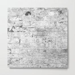 white paint worn brick urban texture Metal Print