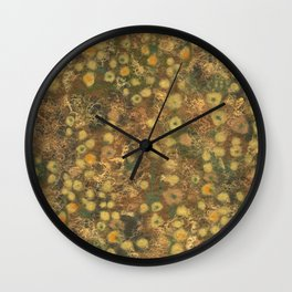 Golden Meadow, Abstract Floral Pattern,  Fiber Texture, Felted Wool  Wall Clock