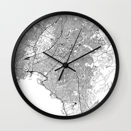 Athens White Map Wall Clock