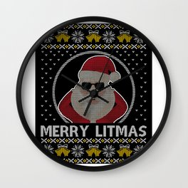 Merry Litmas Funny Santa Ugly Christmas Shirt Wall Clock