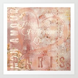 From Paris With Love In Salmon-Rosé Art Print