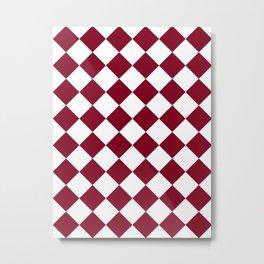 Large Diamonds - White and Burgundy Red Metal Print