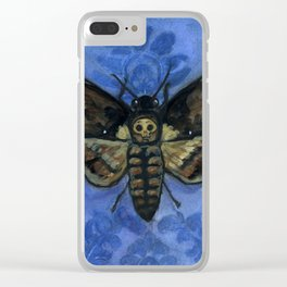 """A Victorian Deaths-Head"", Deaths-Head Hawkmoth Portrait Clear iPhone Case"