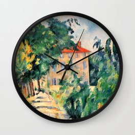 """Paul Cezanne """"House with red roof"""", 1890 Wall Clock"""