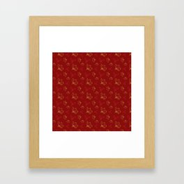 Holy Berries Red and Gold Framed Art Print