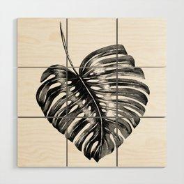 Monstera leaf black watercolor illustration Wood Wall Art