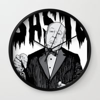 hitchcock Wall Clocks featuring hitchcock by Darby Krow
