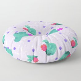 Hello Cactus Lavender Background Floor Pillow
