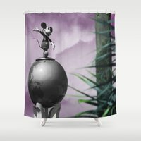 mickey Shower Curtains featuring Mickey by Eduardo Fiho