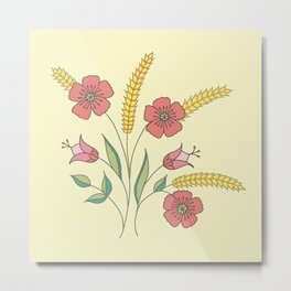 Floral placement on beige Metal Print