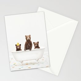 3 Little Bears with Rubber Ducky in Vintage Bathtub Stationery Cards