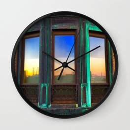 Society6 Chrysler Building reflection Wall Clock
