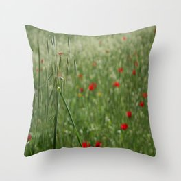 Seed Head With A Beautiful Blur of Poppies Background Throw Pillow