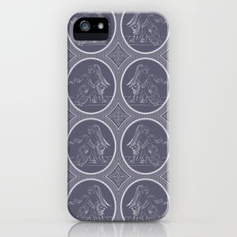 Grisaille Charcoal Blue Grey Neo-Classical Ovals iPhone Case