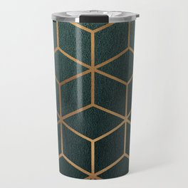 Dark Teal and Gold - Geometric Textured Gradient Cube Design Travel Mug