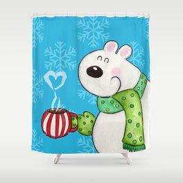 Hot Cocoa Polar Bear Shower Curtain