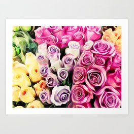 pink purple and yellow roses painting background Art Print
