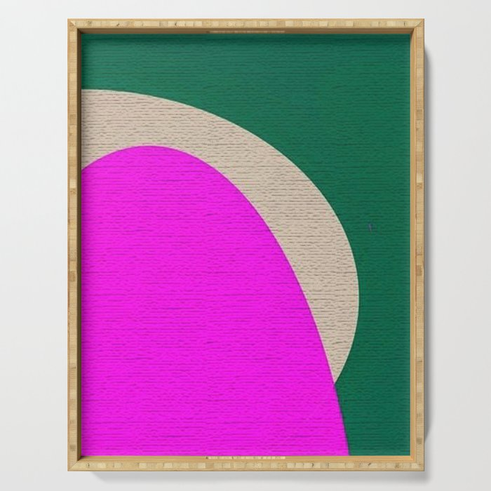 Abstract Composition in Green and Fuchsia Serving Tray