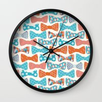 bows Wall Clocks featuring Geometric Bows by Wild Notions