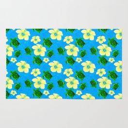 Yellow Hibiscus Hawaiian Pattern Rug