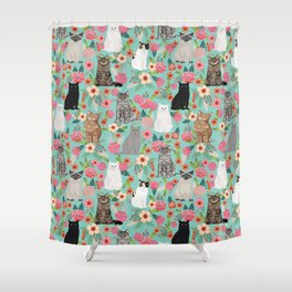 Cats floral mixed breed cat art cute gifts for cat ladies cat lovers pet art Shower Curtain