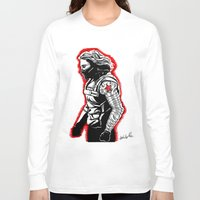 winter soldier Long Sleeve T-shirts featuring Winter Soldier by Lydia Joy Palmer