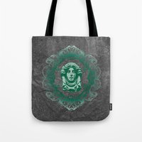 haunted mansion Tote Bags featuring Haunted Mansion - In Regions Beyond Now by Joel Dickinson