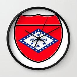 Arkansas Flag In An Interstate Sign Wall Clock