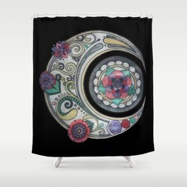 Spiral floral moon Shower Curtain