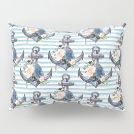 Nautical Blue Pink Floral Anchor Blue Stripes Pillow Sham