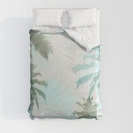Aqua Blue Watercolor Palm Trees Comforters