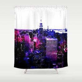 new york City Pink Purple Blue Shower Curtain