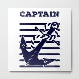 Nautical Navy Blue Anchor and Stripes Captain's Design Metal Print