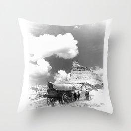 Conestoga Wagon on Oregon Trail  Throw Pillow