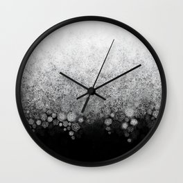 Snowfall on Black Wall Clock