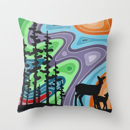I Met My Deerest by the Forest's Edge Throw Pillow