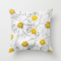 daisies Throw Pillows featuring Daisies by Klara Acel