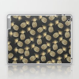 Modern chalk black elegant faux gold pineapple pattern Laptop & iPad Skin