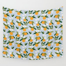 Gouache Oranges Blue Wall Tapestry