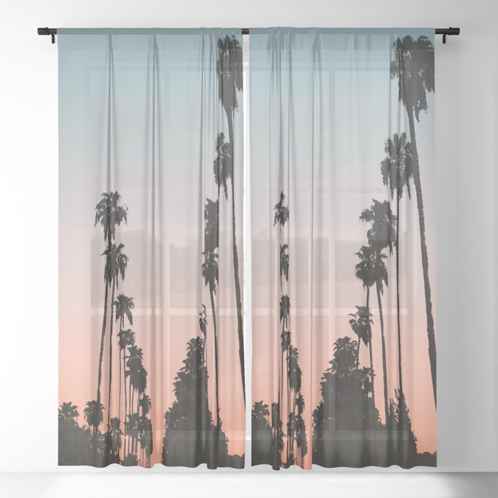 California Sunset // Palm Tree Silhouette Street View Orange and Blue Color Sky Beach Photography Sheer Curtain