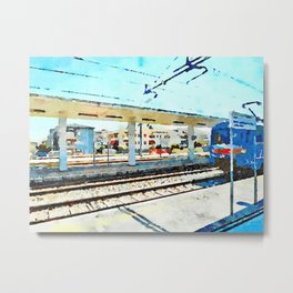 Travel by train from Teramo to Rome: station platform, shelter and train Metal Print